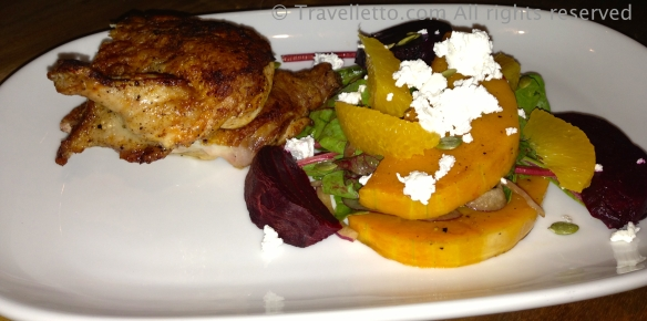 Roast chicken with pumpkin, beetroot, orange and feta