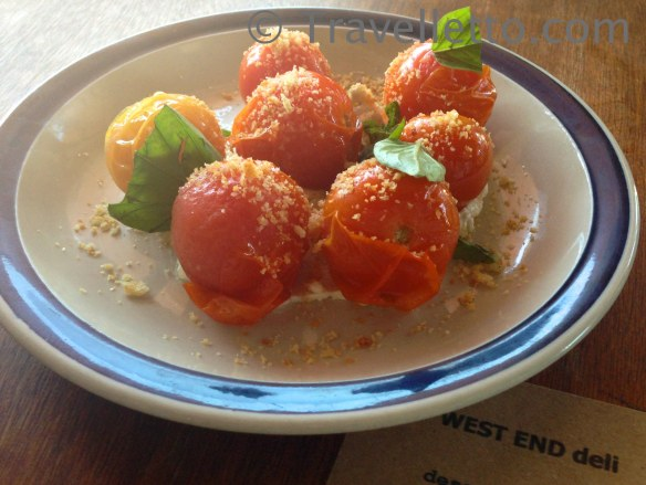 Vine roasted tomato with goats cheese