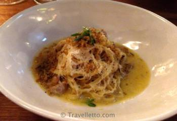 Rabbit tagliatelle with lemon marscapone
