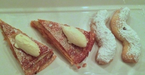 Palačinke - baked crepes with fruits, Kourambiethes - Greek short bread