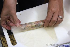 Making Vietnamese spring roll