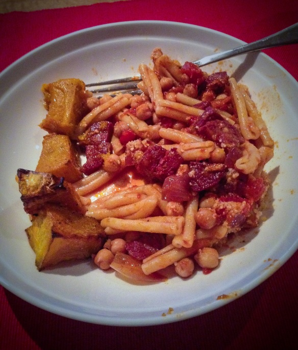 Chorizo and chickpeas casarecce pasta, with a side of roast pumpkin